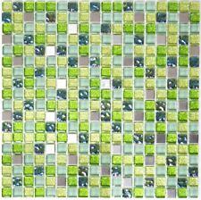 Mosaïque carreau translucide cristal inox verre vert bain 92-0506_f | 10 plaques