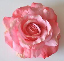"5"" Soft Pink Rose Silk Flower Large Hair Clip Wedding Bridesmaid"