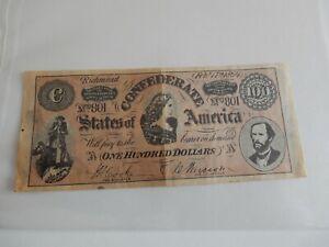 Confederate States America 100 Dollars 1864