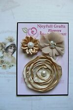 HANDMADE 3 Flower Mix CHAMPAGNE Satin Organza 35, 55 & 75mm NjoyfullCrafts
