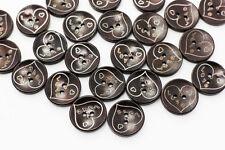 Dark Brown Love Heart Wood Button Coat Bowl Shape Children Wooden 20mm 20pcs