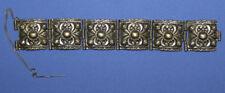 Antique Hinged Floral Folk Silver Plated Bracelet