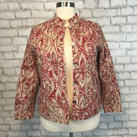 Coldwater Creek Women's Red Floral Beige Thick Jacket Blazer XL Extra Large