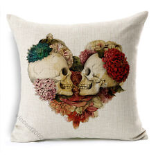 "18"" Retro Vintage Two Skull Heart Love Throw Pillow Case Sofa Cushion Cover 180g"