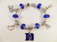 DUKE UNIVERSITY BLUE DEVILS NCAA Licensed Charm Silver Bracelet Team GLASS BEADS