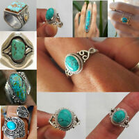 Men Women Retro 925 Silver Natural Irregular Turquoise Ring Jewelry Gift Sz 6-10