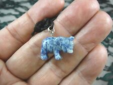 (an-ele-4) baby Elephant Blue White Sodalite carving Pendant Necklace Figurine
