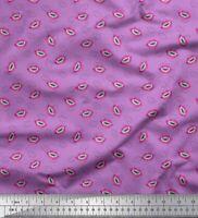 Soimoi Purple Cotton Poplin Fabric Monster Lips & Teeth Face Print-Dl3