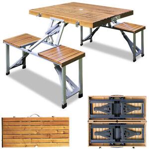 Campingtisch klappbar Alu Camping Set Koffertisch Picknick Campingmöbel Holz