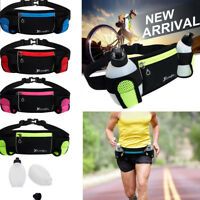 Running Jogging Cycling Belt Bag Waist Pack Pouch With 2 Water Bottle Holder US