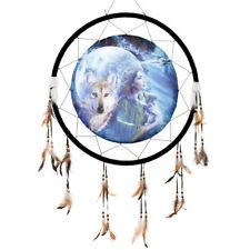 "Giant 26"" Moonlight Brethren Indian Maiden Wolf Owl Dream Catcher Feathers 2679"