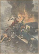 K0054 Londra - Incidente tra auto e moto - Stampa d'epoca - 1930 Old print