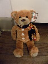 """Gund Christmas GINGERBREAD man TEDDY Bear Plush 15"""" Tan Blue Scarf Buttons w tag"""