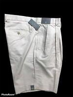 Daniel Cremieux Signature Collection Men's Pleated Khaki Shorts Sz 40 Stone