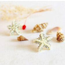 Handmade Pearl Beach Unisex Ear Starfish Rhinestone Ear Stud Earrings