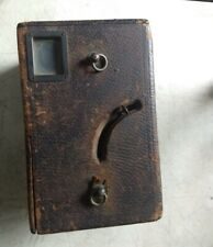 """Antique leather covered box camera ADLAKE Westlake 4x5""""  & 11 plate holders 1897"""