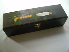 Hand Painted CHRISTMAS WOODEN BOX Candles Hinged Holidays