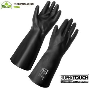 Heavy Duty Black Rubber Gloves Chemical Safe High Quality SuperTouch