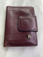 Vintage Etienne Aigner Maroon Leather Small Bifold Card Photo Wallet  3 X 4 In