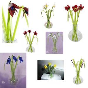 Glass Flowers Gift In Vase Snowdrops Daffodils Bluebells Sculpture Poppy Design