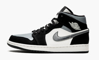 Air Jordan 1 Mid Smoke Grey Black Satin Men's Sneakers