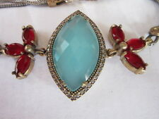 Turkish Style Sterling Silver & Bronze Bracelet Cloudy Blue Stone synthetic Ruby