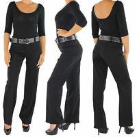 Damen Business Hose+Gürtel Schlaghose Bootcut Stoffhose Elegant Classic Schwarz