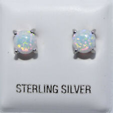 White Opal 5mm .925 Sterling Silver with Prawns Stud - White Opal 5mm Earring