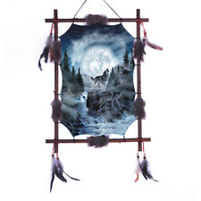"""22""""x16"""" Wolves Moon Howling Wolf Dream Catcher Wall Decor Feathers Wood Frame"""
