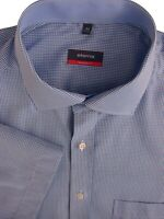 ETERNA Shirt Mens 17.5 XL Blue & White Gingham Check SHORT SLEEVE MODERN FIT NEW