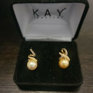 LEVIAN 14k Gold Chocolate & White Diamond Cultured Pearl Earrings