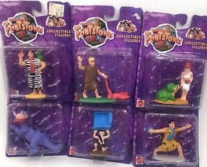 6 Flintstones Mattel figures on card 1993 Fred Wilma Barny Dino Bam Dino