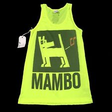 New (XS) MAMBO Surf Deluxe Australia Farting Dog Neon Green Tank Top B-Space