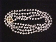 "Vintage Necklace-Pearl-Majorca-single strand-tag-vintage new-54""- grey pearl-8mm"