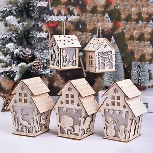 Wooden LED Light Christmas House Decor Santa Claus Elks Hanging Pendant Ornament