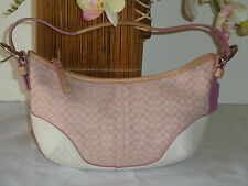 "Coach Signature Pink White Leather Shoulder Bag Length 11"" Height 6"" Depth 3"""