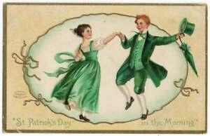 021721 VINTAGE U/S CLAPSADDLE ST PATRICK'S DAY POSTCARD IRISH DANCERS 1909