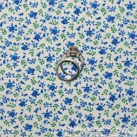 BonEful Fabric FQ Cotton Quilt VTG White Blue Green Rose Flower Leaf Shabby Chic