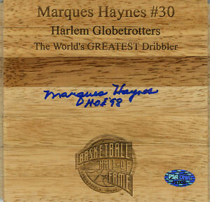Marques Haynes SIGNED Engraved Floorboard Globetrotters PSA/DNA AUTOGRAPHED