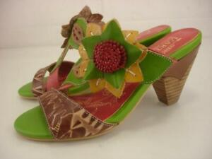 Womens 5.5 6 36 L'Artiste by Spring Step Toucy Sandals Flower Slide Leather Heel