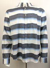 Prince & Fox Oxford Dress/Casual Shirt Striped Gray White Men's Size XL NWT
