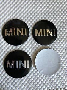 4x Sticker 56mm Mini Cooper Wheel Centre Cap Hub Caps Sticker Logo Black/Silver