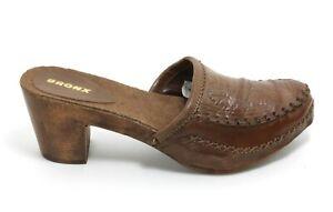 208 Wedges Slip On Leder Heels Retro Sandaletten Pantoletten Pumps Bronx 36