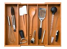 Expandable 5 Large Compartment Adjustable Cutlery Drawer Tray Organizer Bamboo