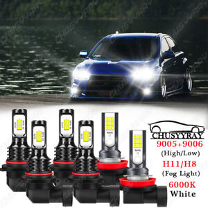For Mitsubishi Lancer 2008-2015 6x Combo LED Headlight Fog Light Bulbs Kit Hi/Lo