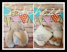 Personalised Embroidered Baby Blanket Bunny Teddy Gift Easter