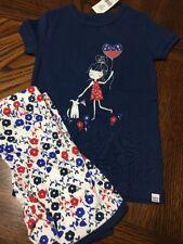 New Baby Gap Girls Size 4T Pajama Set Shorts Short Sleeve Floral Patriotic