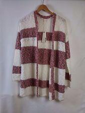 Strick Jacke Pullover Damen Esprit Weiß und rosa 42 XL 50% Baumwolle Neu Top!