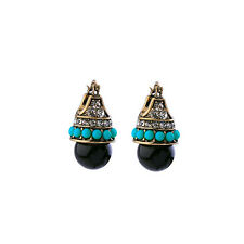 Dot & Line turquoise beads stella crystal pave black ball leverback dot earrings