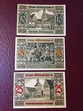 Notgeld Stadt Mühlberg 3 Scheine 1921 sehr guter Zustand